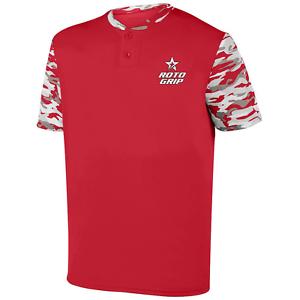 redo Grip Men's Horizon Performance Crew Bowling Shirt Dri-Fit Red