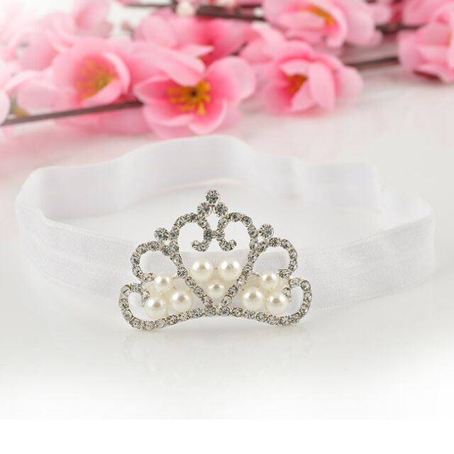 Kids Girl Baby Toddler Infant Cute Crown Pearl Headband Hair Band Accessories