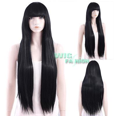 Long Straight Black with Bangs Hair Wig CG01