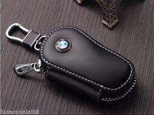 Black Genuine Leather Car Key Holder Keychain Ring Case Bag for BMW