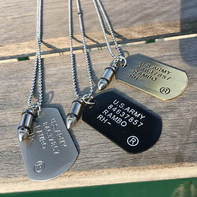 GOLD Bullet Dog Tag Pendant Necklace Military RAMBO ID Tag Ball Chain UK Seller