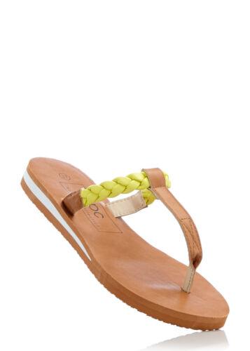 Schöne Sandale in Camel//Hellgrün Gr 38 M2772-924108