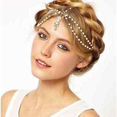 PEARL TASSEL CRYSTAL CHAIN HEAD JEWELRY WOMEN HAIR  BAND ACCESORIES GIFT |GIRLS