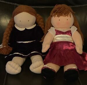 POTTERY-BARN-KIDS-VINTAGE-RED-HAIRED-DOLLS-HOLLY-181-amp-ALLIE-ROSE-941-EUC
