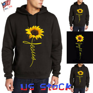 Fashion-Men-Hooded-Sweatshirt-Sunflower-Print-Hoodies-Long-Sleeve-Tops-Casual-US