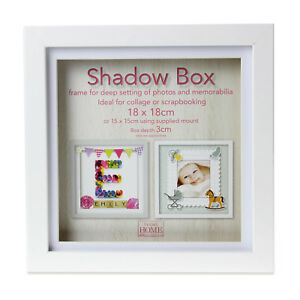 18cm-Square-White-Wooden-Deep-Shadow-Box-3D-Photo-Picture-Frame-Scrabble-Display