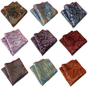 Men-Stylish-Paisley-Jacquard-Floral-Hanky-Pocket-Square-Wedding-Handkerchief-New