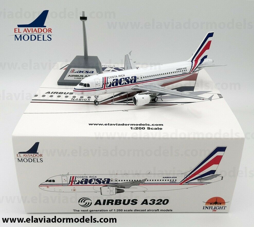 Inflight 200 EA320LR1019 1 200 Lacsa Airbus A320-200 N481GX with stand