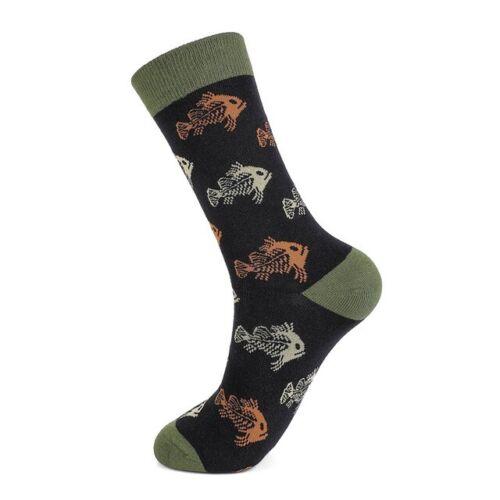 Mens Combed Cotton Socks Funny Grid Fruit Animal Crew Casual Dress Socks Gift