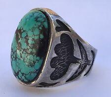 HUGE STAMPED Navajo Sterling Silver GEM SPIDERWEB Turquoise MENS Ring Sz 12