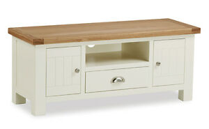 Daymer Painted Large TV Unit / Off White Painted TV Stand with Oak ...