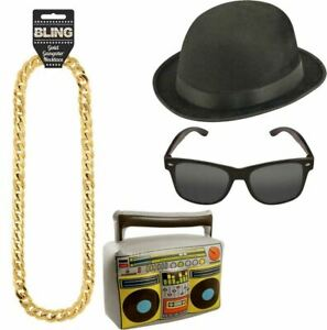Details about  /Run DMC Rapper Boom Box Chain Hat Glasses Kit 1980s Fancy Dress Costume Set