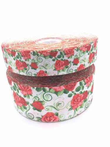 "Roses Fleurs Rouge 3/"" 1.5/"" 75 mm 38 mm Gros-Grain Ruban"