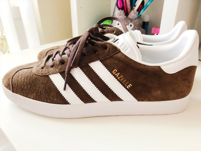 Adidas Originals Gazelle SZ 8 1 2, BB5254 Brown White gold Sneakers Suede shoes