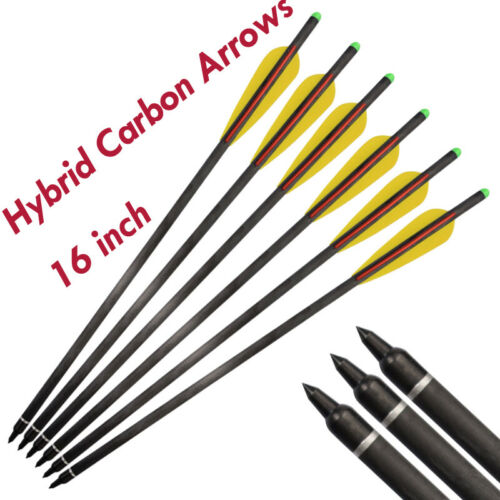 """16/"""" Archery Hybrid Carbon Crossbow Bolts Arrows for Bow Hunting Shooting 6//12pcs"""