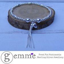Pendientes de plata esterlina pulsera elástica con cuentas de apilamiento con Borlas & Borla Corazón Encantos