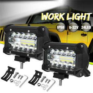 2PCS-5-Inch-72W-Work-Light-Flood-Beam-Fog-Driving-Lamp-Offroad-Tractor-4WD-2