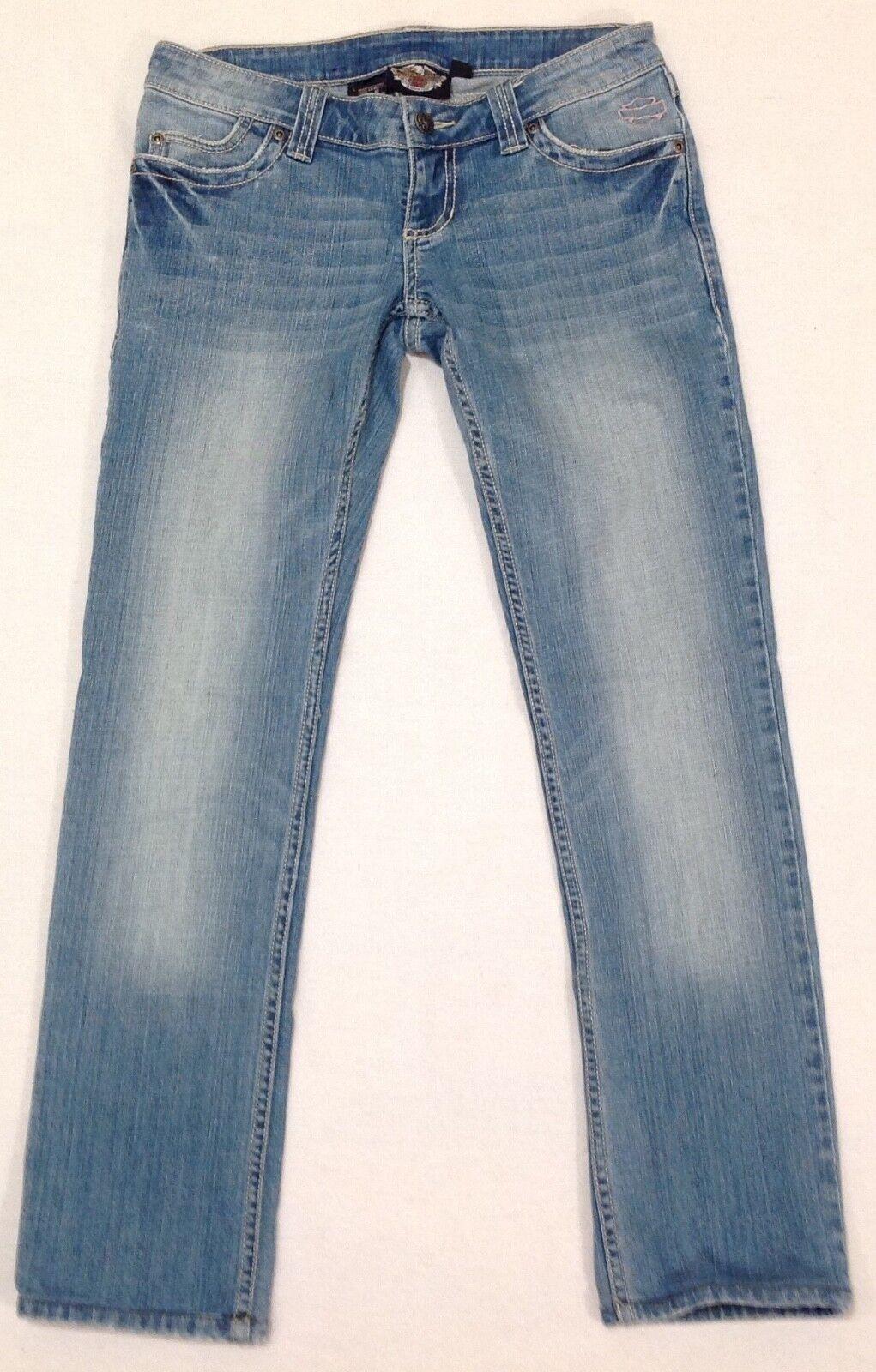 Harley Davidson Rhinestone Straight Leg Ultra-Low Rise bluee Jeans Size 2 30X29