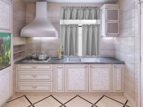 K3 3PC SOLID FAUX LINED KITCHEN WINDOW CURTAIN 2 TIERS 1 SWAG VALANCE SET NE