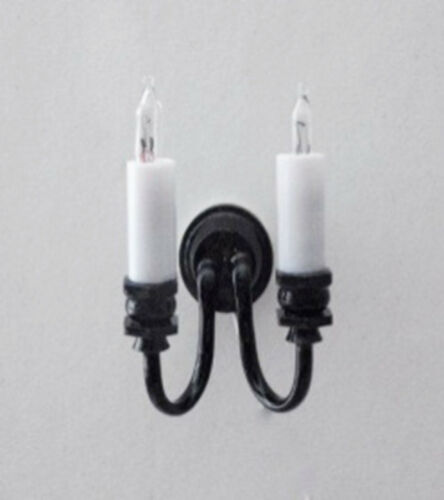 Dollhouse Miniature 1:12 Scale Double Candle Wall Sconce in Black