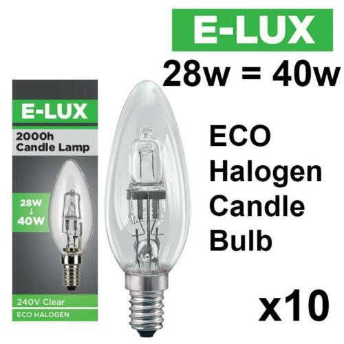 10 X E-LUX ECO HALOGEN ENERGY SAVING CANDLE DIMMABLE LIGHT BULBS 28W=40W