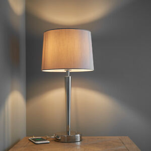 Endon syon table lamp with usb port 40w e14 candle nickel plate image is loading endon syon table lamp with usb port 40w aloadofball Choice Image