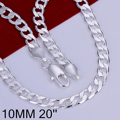 "Cool 925Sterling Silver 10MM 18/""-24/"" Flat Sideway Men Accessories Necklace FN005"