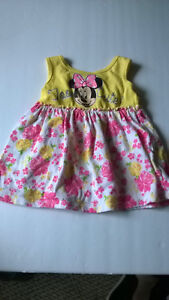 DISNEY-BABY-12-Month-Girl-Minnie-Mouse-Dress-YellowPink-Floral-TOO-CUTE-Bow-Back