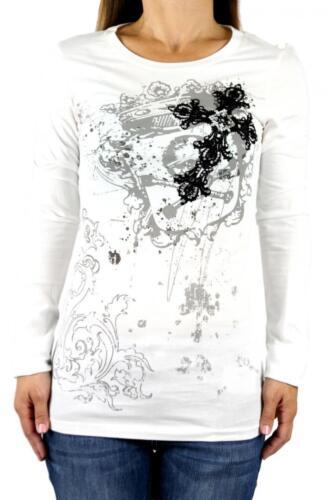Vocal Women Top Shirt Cross Crystal Rhinestone Graphic White Long Sleeve