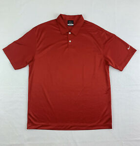Nike-Golf-Polo-Shirt-Men-039-s-Large-Short-Sleeve-Red-Dri-Fit-Button-Up