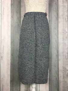 Vintage-Orvis-Gris-Pura-Mezcla-De-Lana-Tweed-Falda-Size-Uk-16