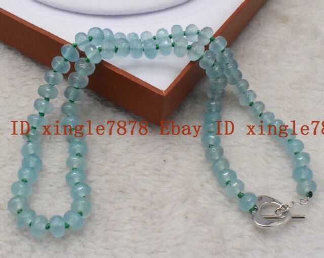 """Natural 2x4mm Faceted Gray Aquamarine Abacus Gemstone Necklace 18/"""" 925 Silver"""