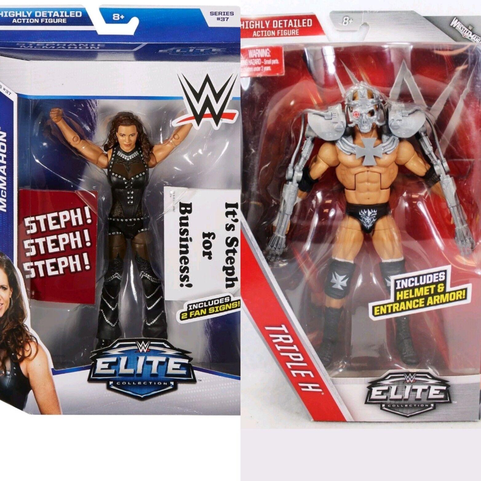 WWE Mattel Elite Triple H & Stephanie McMahon Wrestling figures moc New boxed
