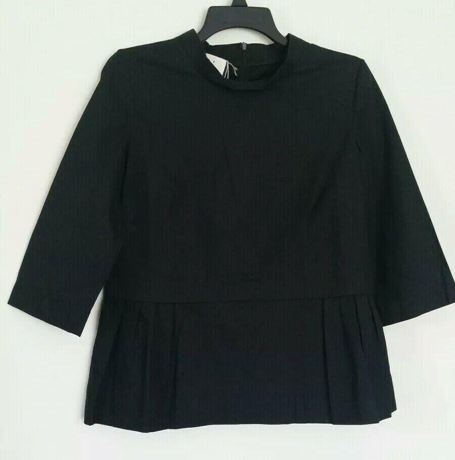 NWT Marni schwarz 100% Cotton Crew Neck Top Blouse sz M US 6 IT 42 Authentic