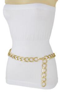 Women Western Bling Fashion Belt Gold Metal Chunky Chain Thick Link Plus XL XXL