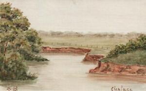 1919-ORIGINAL-WATERCOLOUR-PAINTING-of-AUSTRALIAN-FARM-GLENLASS-POSTCARD-USED