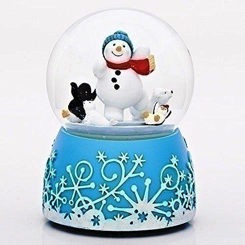 Aqua Blue Snowman Rotating 100MM Musical Glitterdome Plays Tune White Christmas