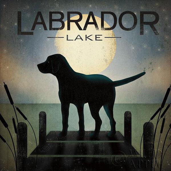 Moonrise Black Dog - Labrador Lake Ryan Fowler Sign Dog Lab Animals Print Poster