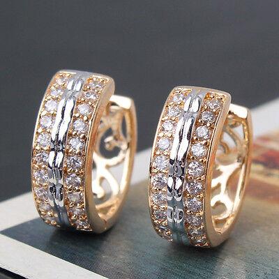ORIGINAL design 18k gold Platinum filled White Topaz girl's chic hoop earring