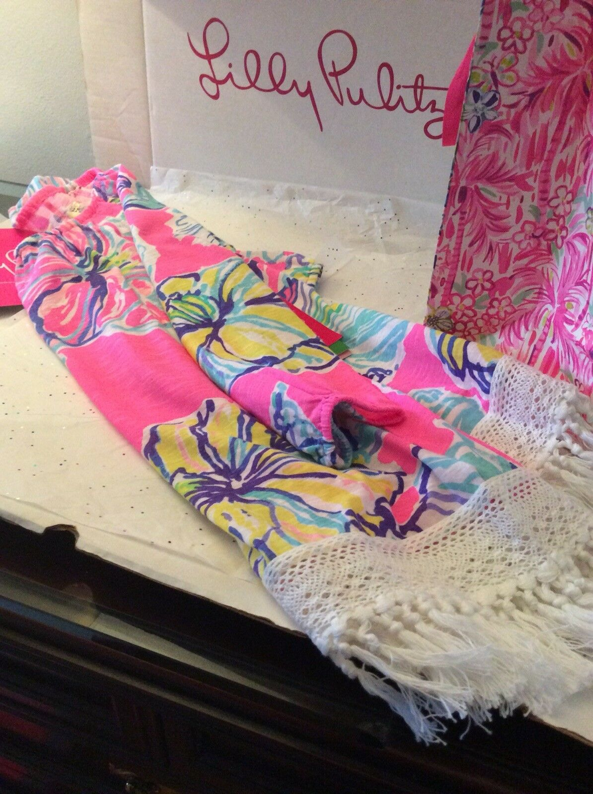 Lilly Pulitzer ALIA Top   Coverup Off Shoulder Fringe Swept By The Tides