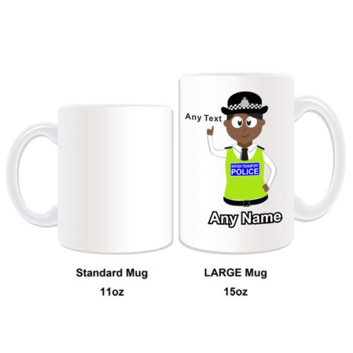 Personalised Gift Black Policewomen Mug Money Box Cup PC BTP Transport Hat Cab