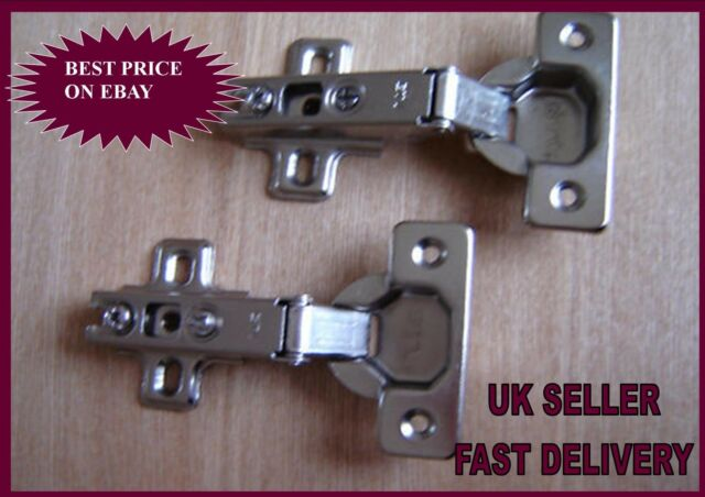 2x Inset Cupboard Hinges Mounting Plates 26mm Slide-On 95° Cabinet Wardrobe Lid