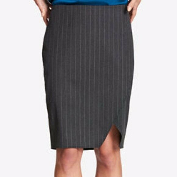 c08140ad16e00 DKNY Womens Gray Professional Knee-length Pinstripe Pencil Skirt 6 BHFO  7498 for sale online