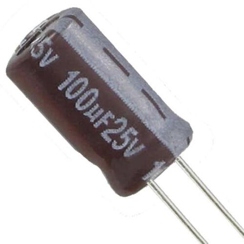10 Elko Elektrolytkondensator 100µF 25V lESR  Ø 6,3mm H 11mm Jamicon TL Serie