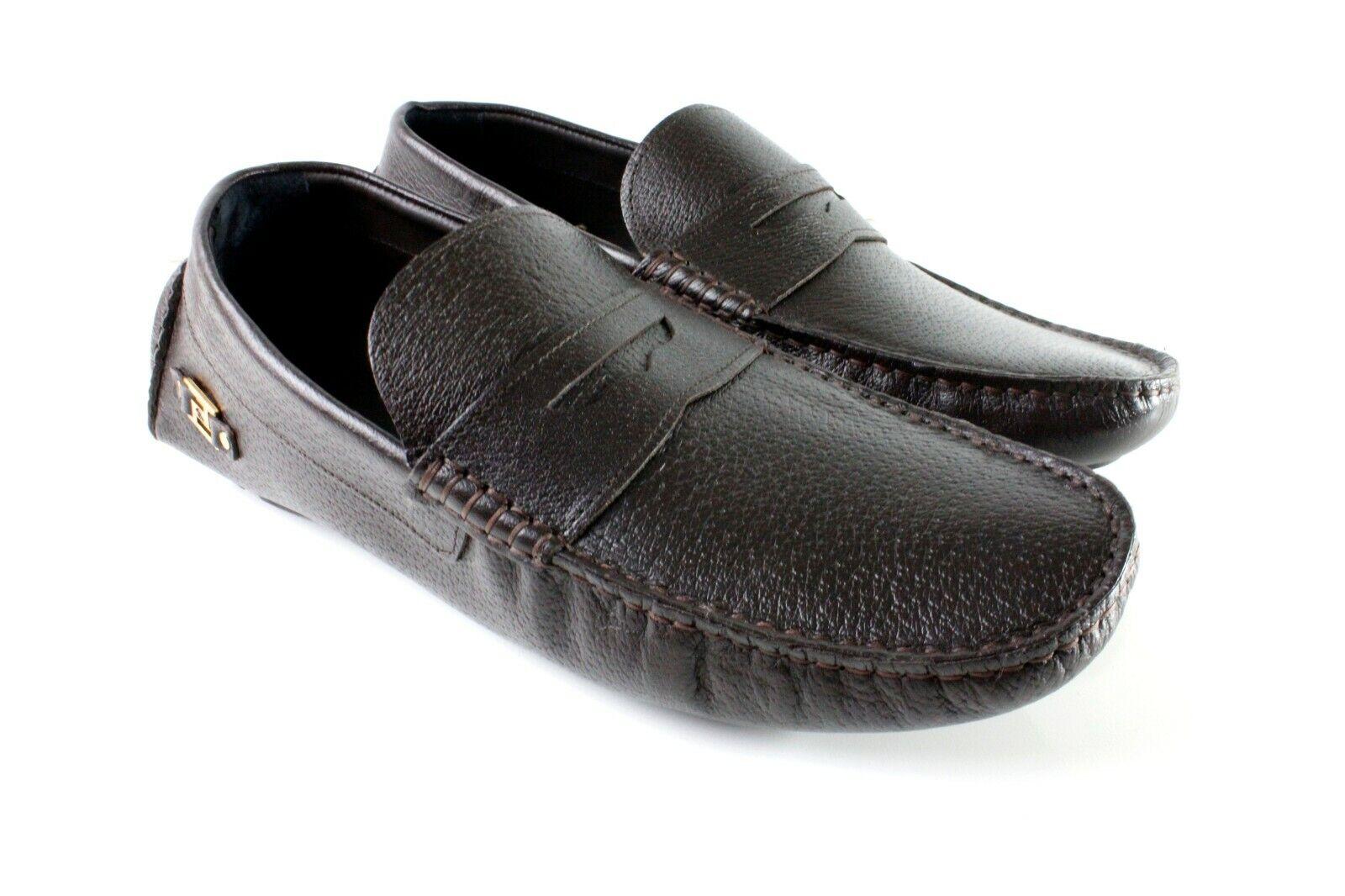 marron Handmade hommes en cuir Italien   Chaussures Chaussures de loisirs ITALIEN Mocassin 46
