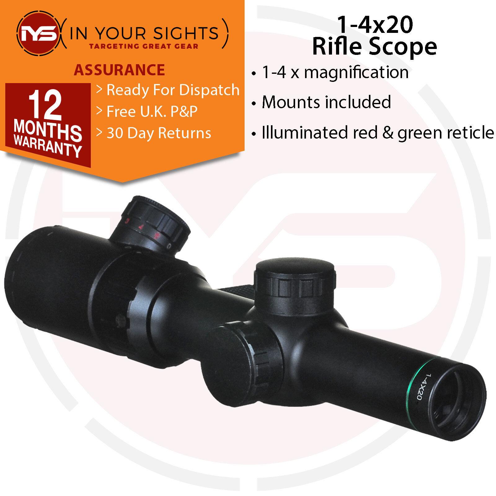 1-4x20 Rifle Scope INC Fixations/lumineux réticule Tactique antichoc antichoc antichoc Scope c55f32