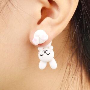 Women-Girl-Fashion-Polymer-Clay-White-Rabbit-Stud-Earrings-Piercing-Ear-Jewelry