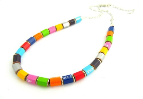 Handmade Pencil Crayon Necklace Fair Trade Made in India Recycled Jewellery