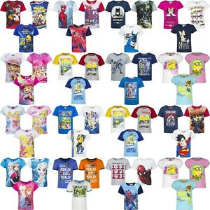 Boys-Girls-Kids-Children-Character-T-shirt-Top-Tee-age-3-8-years-100-Cotton