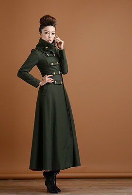 Trench double-breasted Stand collar Long Coat Full length Parka Outwear Dress